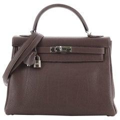 Hermes Kelly Handbag Chocolate Togo with Palladium Hardware 32