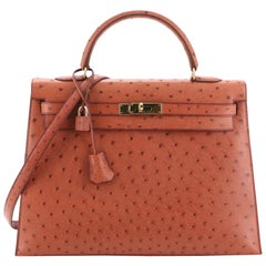 Hermes Kelly Handbag Cognac Ostrich with Gold Hardware 35