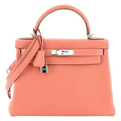 Hermes Kelly Handbag Crevette Clemence with Palladium Hardware 28