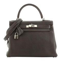 Hermes Kelly Handbag Ebene Chevre de Coromandel with Palladium Hardware 2