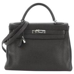Hermes Kelly Handbag Ebene Clemence with Palladium Hardware 32