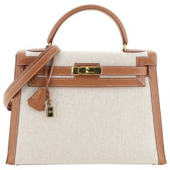Hermes Kelly Handbag Ecru Toile and Gold Courchevel with Gold Hardware 32