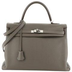 Hermes Kelly Handbag Etain Clemence with Palladium Hardware 35