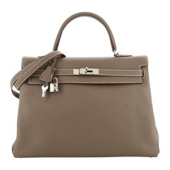 Hermes Kelly Handbag Etoupe Clemence with Palladium Hardware 35
