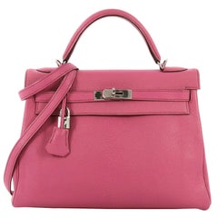 Hermes Kelly Handbag Fuchsia Chevre de Coromandel with Palladium Hardware 32