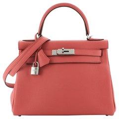 Hermes Kelly Handbag Geranium Clemence with Palladium Hardware 28