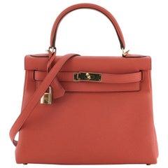 Hermes Kelly Handbag Geranium Togo with Gold Hardware 28