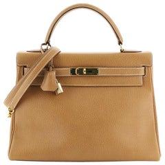 Hermes Kelly Handbag Gold Ardennes With Gold Hardware 32