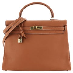 Hermes Kelly Handbag Gold Clemence with Gold Hardware 35
