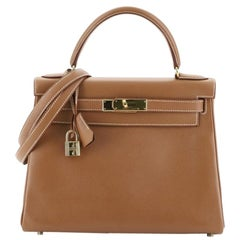 Hermes Kelly Handbag Gold Courchevel with Gold Hardware 28