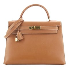 Hermes Kelly Handbag Gold Courchevel with Gold Hardware 32