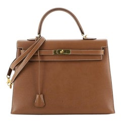 Hermes Kelly Handbag Gold Courchevel With Gold Hardware 35