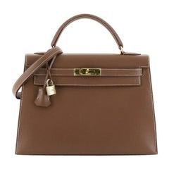 Hermes Kelly Handbag Gold Evergrain With Gold Hardware 32
