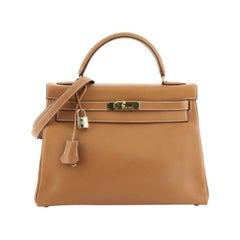 Hermes Kelly Handbag Gold Gulliver With Gold Hardware 32