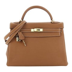 Hermes Kelly Handbag Gold Togo With Gold Hardware 32