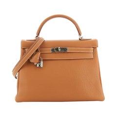 Hermes Kelly Handbag Gold Togo with Palladium Hardware 32
