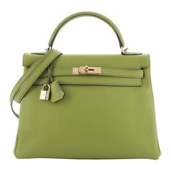 Hermes  Kelly Handbag Green Togo with Gold Hardware 32