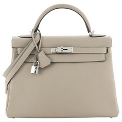 Hermes Kelly Handbag Grey Togo With Palladium Hardware 32
