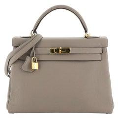 Hermes Kelly Handbag Gris Asphalte Togo with Gold Hardware 32