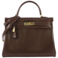 Hermes Kelly Handbag Havane Box Calf with Gold Hardware 40