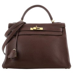 Hermes Kelly Handbag Havane Clemence with Gold Hardware 32