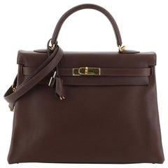 Hermes Kelly Handbag Havane Evergrain With Gold Hardware 35