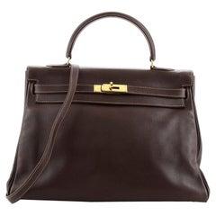 Hermes Kelly Handbag Havane Gulliver with Gold Hardware 35