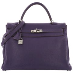 Hermes Kelly Handbag Iris Togo with Palladium Hardware 35