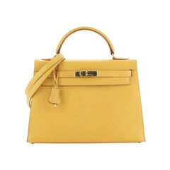 Hermes Kelly Handbag Jaune Courchevel With Gold Hardware 32