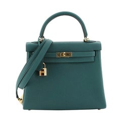 Hermes Kelly Handbag Malachite Togo With Gold Hardware 25