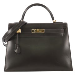 Hermes Kelly Handbag Marron Fonce Box Calf with Gold Hardware 32