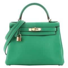 Hermes Kelly Handbag Menthe Clemence with Gold Hardware 28