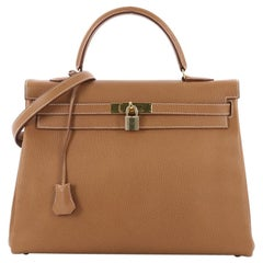 Hermes Kelly Handbag Natural Ardennes with Gold Hardware 35