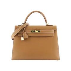 Hermes Kelly Handbag Natural Chamonix With Gold Hardware 32