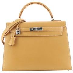 Hermes Kelly Handbag Natural Chamonix with Palladium Hardware 32