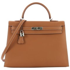 Hermes Kelly Handbag Natural Chamonix with Palladium Hardware 35