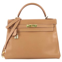 Hermes Kelly Handbag Natural Courchevel with Gold Hardware 32