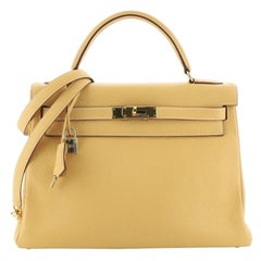 Hermes Kelly Handbag Natural Sable Clemence With Gold Hardware 32