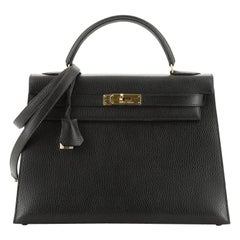 Hermes Kelly Handbag Noir Ardennes With Gold Hardware 32