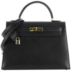 Hermes Kelly Handbag Noir Ardennes with Gold Hardware 32