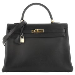 Hermes Kelly Handbag Noir Ardennes With Gold Hardware 35