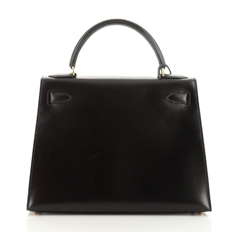 Hermes Kelly Handbag Noir Box Calf with Gold Hardware 28 In Good Condition For Sale In New York, NY