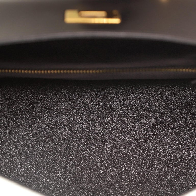 Hermes Kelly Handbag Noir Box Calf with Gold Hardware 28 For Sale 1