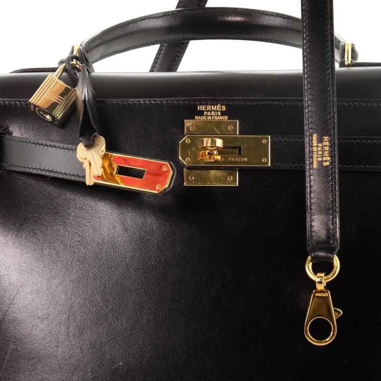 Hermes Kelly Handbag Noir Box Calf with Gold Hardware 28 For Sale 2