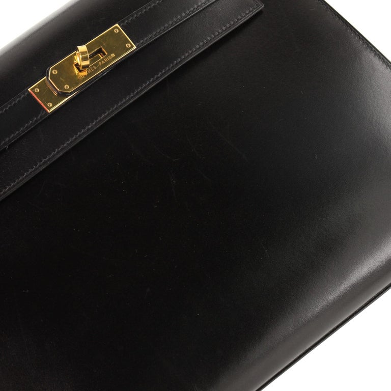 Hermes Kelly Handbag Noir Box Calf with Gold Hardware 28 For Sale 3