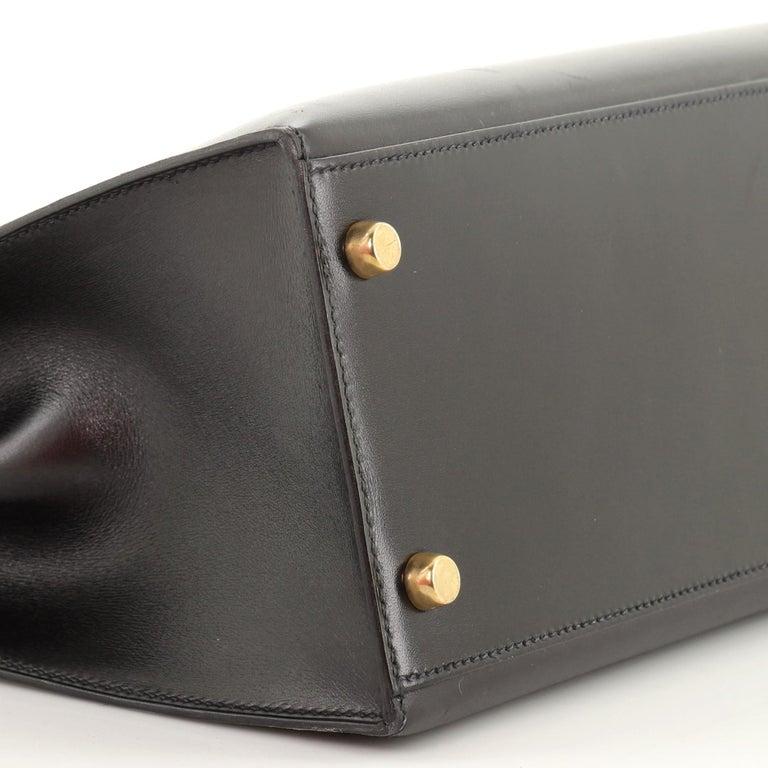 Hermes Kelly Handbag Noir Box Calf with Gold Hardware 28 For Sale 4