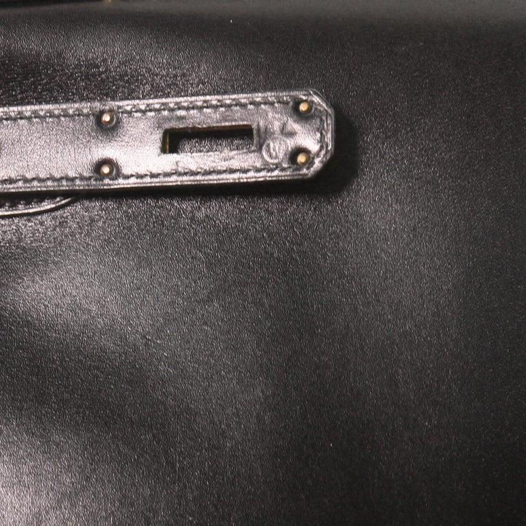 Hermes Kelly Handbag Noir Box Calf with Gold Hardware 28 For Sale 5