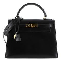 Hermes Kelly Handbag Noir Box Calf with Gold Hardware 28