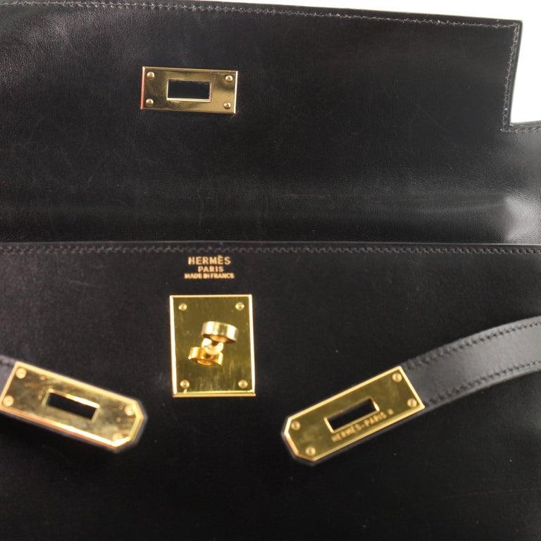 Hermes Kelly Handbag Noir Box Calf with Gold Hardware 32 For Sale 8