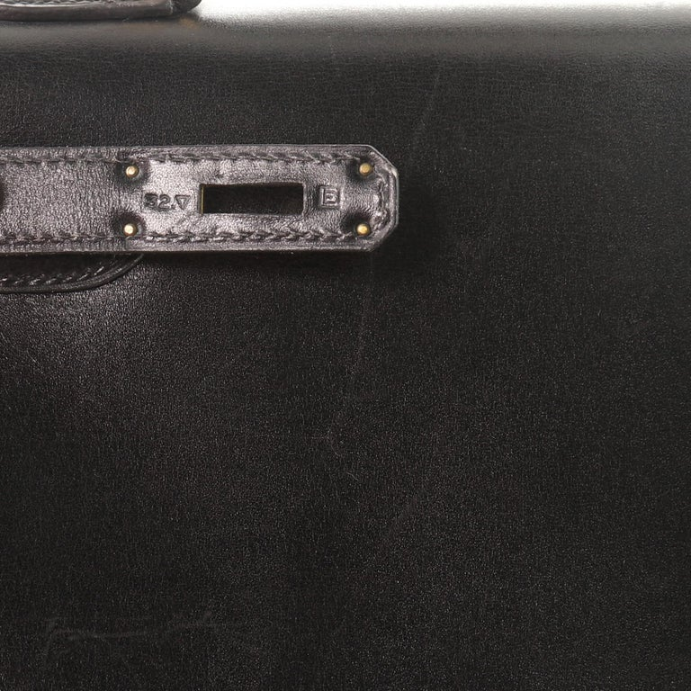 Hermes Kelly Handbag Noir Box Calf with Gold Hardware 32 For Sale 9